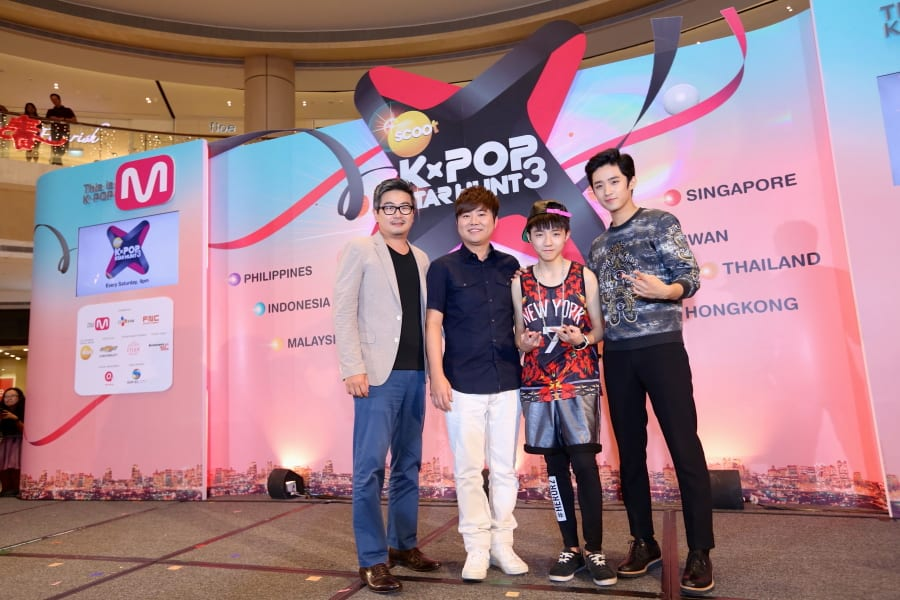From left to right: Mr Ko Kwang Il, Head of FNC  Entertainment , Mr Han Seong Ho, CEO of FNC  Entertainment, Andy Su, Winner of Scoot: K-Pop Star Hunt  3 and Lee Jae Jin of F. T. Island. Credit: channel M
