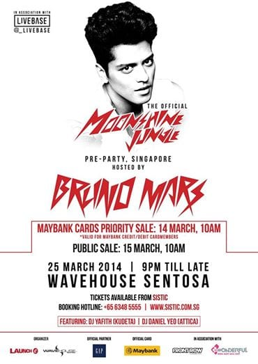 The Moonshine Jungle Tour Official Pre Party hosted by Bruno Mars