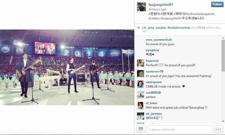 CNBlue_Junshin Instagram_Incheon Asian Games