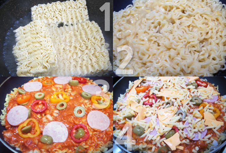 ramyeon pizza steps