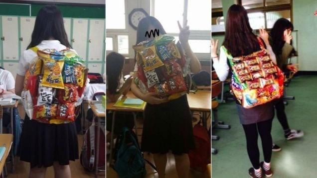 school-girl-korea-food-packs
