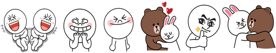(L-R, Top 6 LINE stickers sent in Singapore as of May 2015)