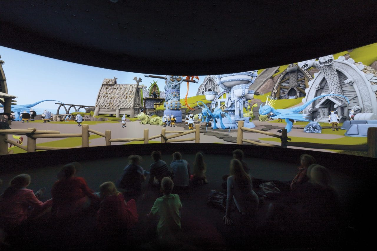 The Dragon Flight, a 40-foot diameter, 180-degree panoramic screen. (Photo Credits: Mark Ashkanasy)