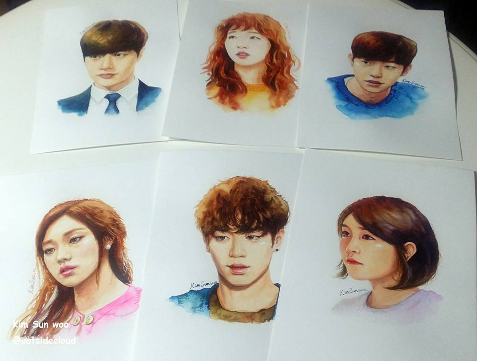 [ART] 'Cheese In The Trap' casts drawn into life-like watercolor portraits by Korean artist Kim Sun-woo