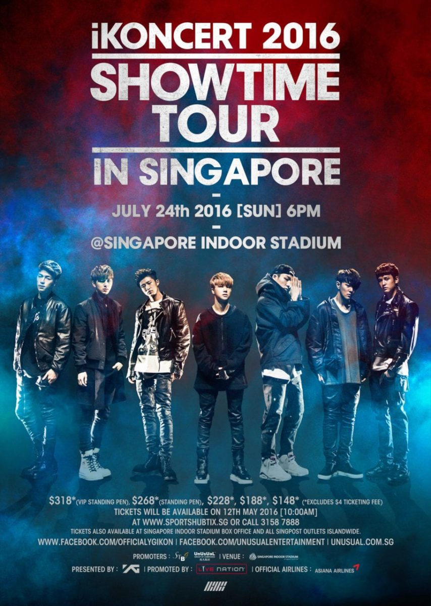 iKONCERT 2016 SHOWTIME TOUR IN SINGAPORE on 24 July 2016!