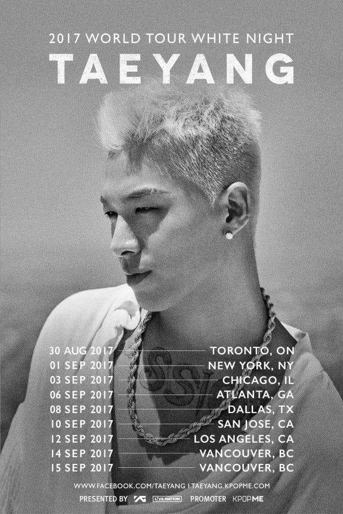 [EVENT] TAEYANG 2017 WORLD TOUR <WHITE NIGHT> in North America