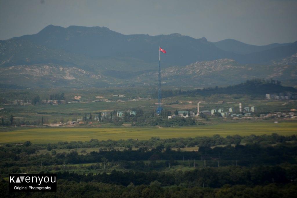 North Korea-Flagpole dora observatory