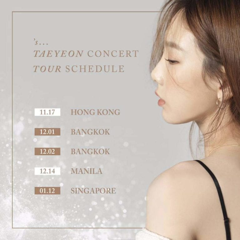 Taeyeon concert tour hong kong, singapore, bangkok, manila
