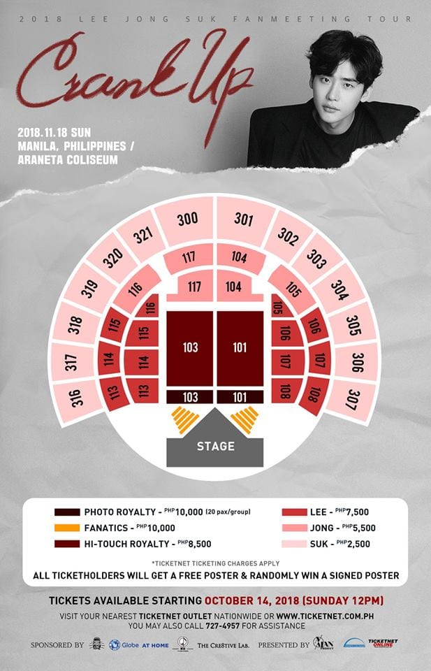 Lee Jong Suk Crank Up Manila Seating Plan
