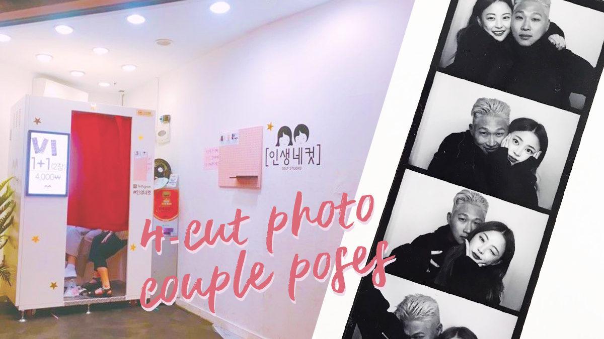 Korean couple pose ideas for 4-cut photos