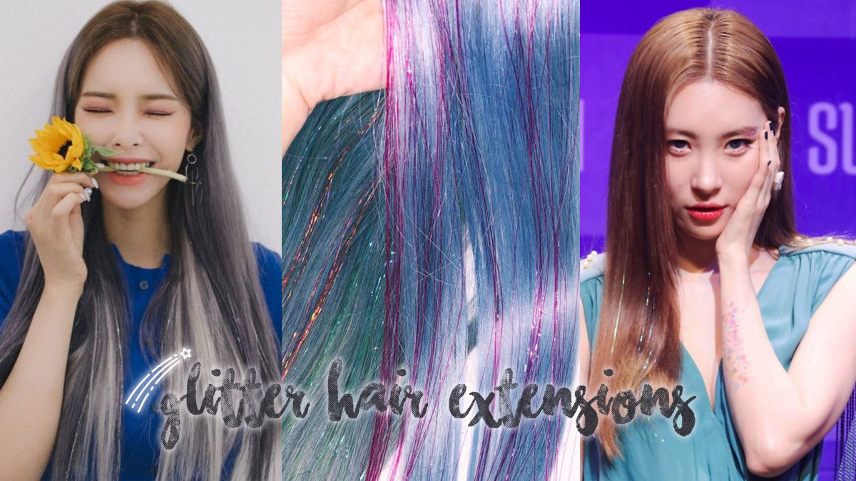 Bling it up with glitter hair extensions like Taeyeon & Heize!