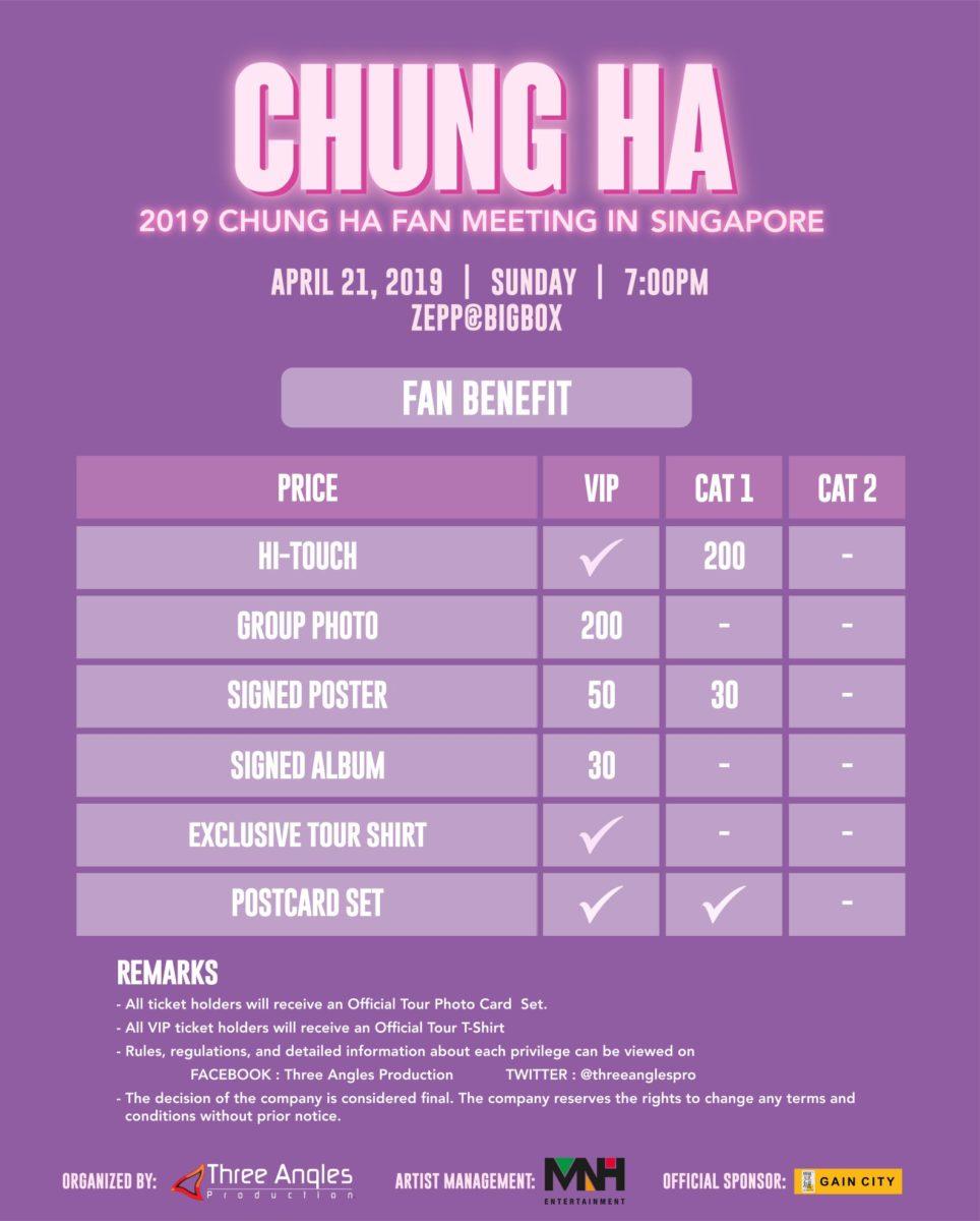Chungha fan meeting Singapore price