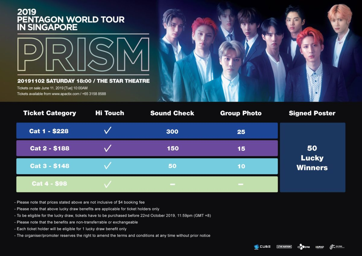 """PENTAGON to make last stop of 2019 World Tour """"PRISM"""" concert in Singapore"""