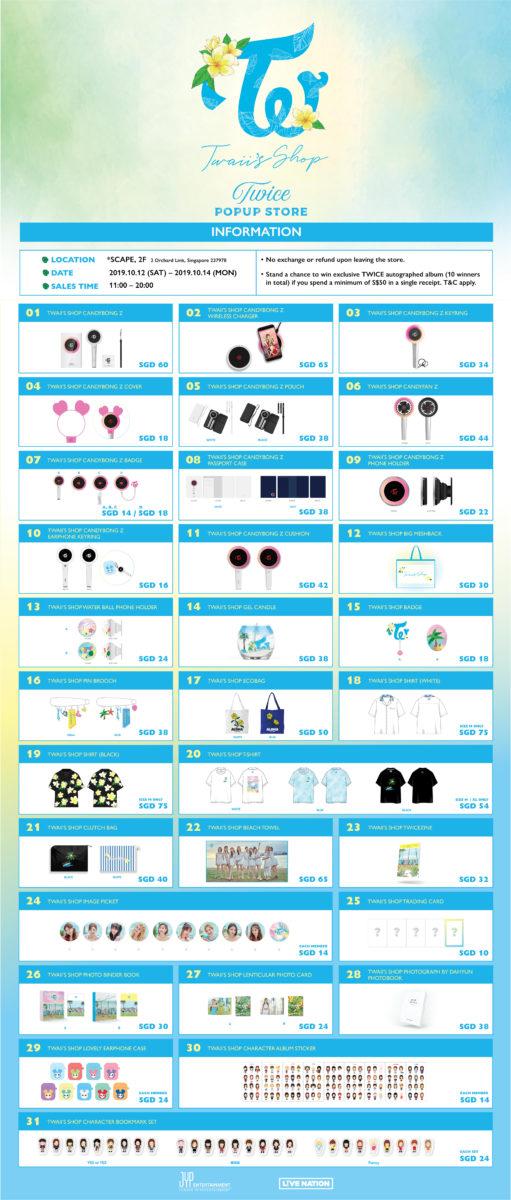 TWICE Twaii's Shop Merch List