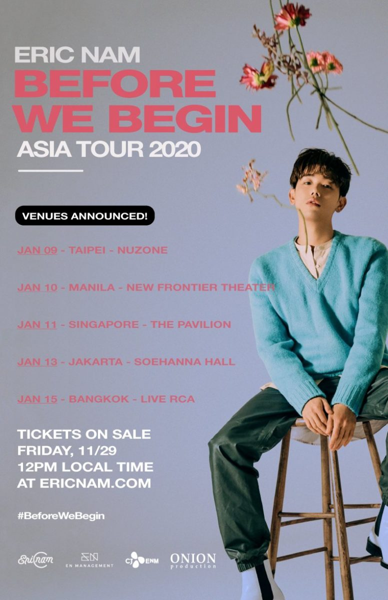 "Eric Nam announces ""Before We Begin"" 2020 World Tour in Asia with Singapore stop on 11 January"
