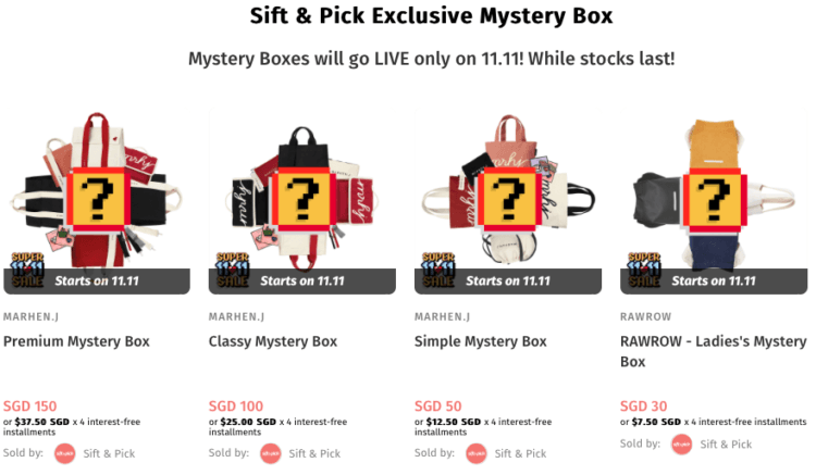 sift & pick 11.11 Sale 50% off singles day sale mystery box